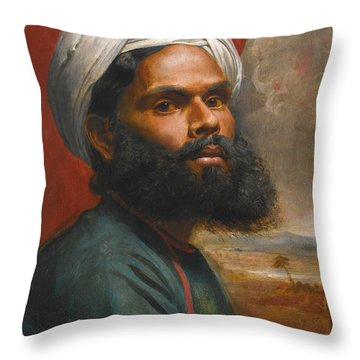 Throw Pillow featuring the painting Portrait Of An Indian Sardar by Edwin Frederick Holt