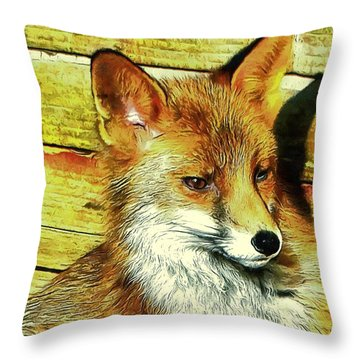 Portrait Of An Urban Fox Throw Pillow