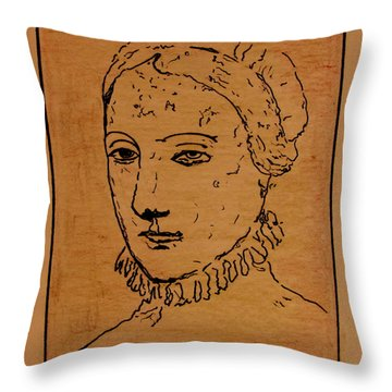 Throw Pillow featuring the drawing Portrait Of Anne by Bill OConnor