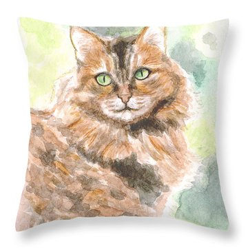 Portrait Of Cat. Throw Pillow