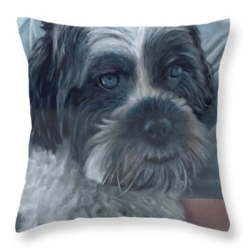 Throw Pillow featuring the painting Portrait Of Charley by John Neeve