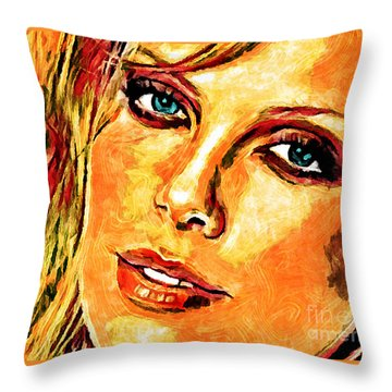 Throw Pillow featuring the digital art Portrait Of Charlize Theron by Zedi