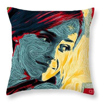 Portrait Of Emma Watson Throw Pillow