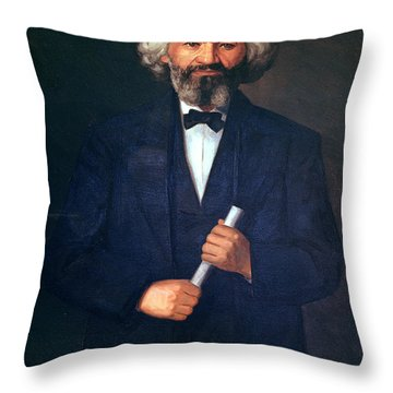 Portrait Of Frederick Douglass Throw Pillow by American School