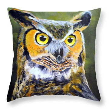 Portrait Of Great Horned Owl Throw Pillow by Dennis Clark
