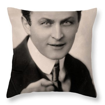 Portrait Of Harry Houdini Throw Pillow