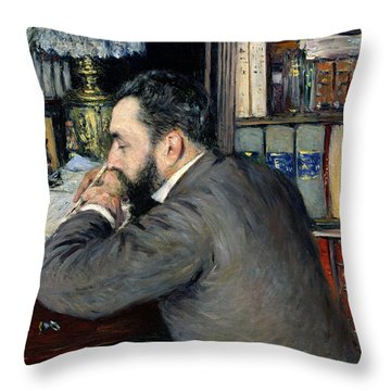 Portrait Of Henri Cordier Throw Pillow by Gustave Caillebotte