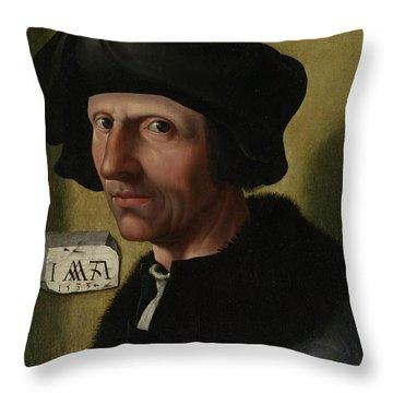 Portrait Of Jacob Cornelisz Van Oostsanen Throw Pillow