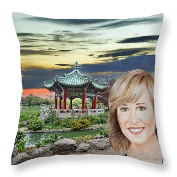 Portrait Of Jamie Colby By The Pagoda In Golden Gate Park Throw Pillow by Jim Fitzpatrick