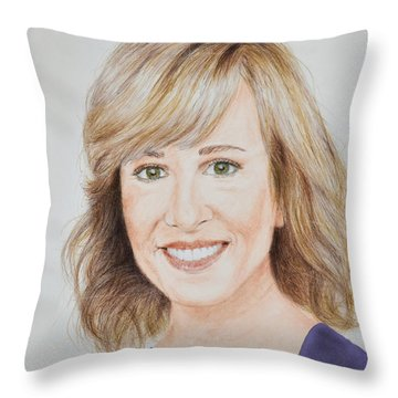 Portrait Of Jamie Colby Throw Pillow by Jim Fitzpatrick