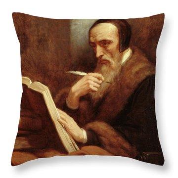 Portrait Of Jean Calvin Throw Pillow