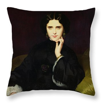 Portrait Of Jeanne De Tourbay Throw Pillow by Eugene Emmanuel Amaury-Duval