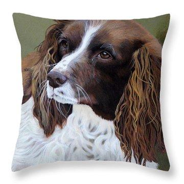Portrait Of Jesse - Springer Spaniel Throw Pillow