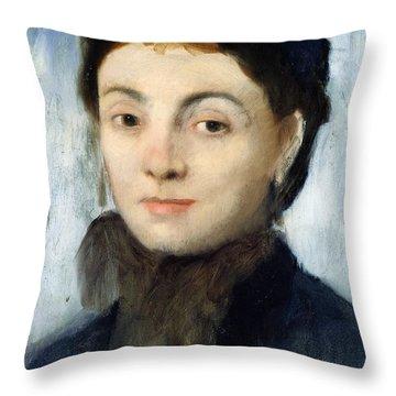 Portrait Of Josephine Gaujelin Throw Pillow by Edgar Degas