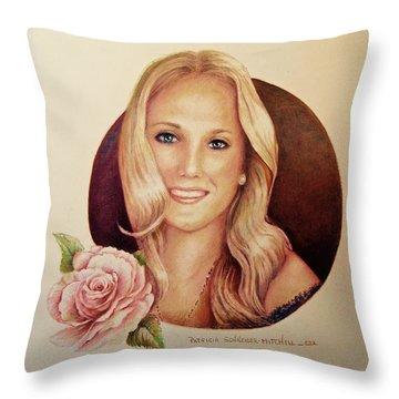 Portrait Of Lauren Throw Pillow by Patricia Schneider Mitchell