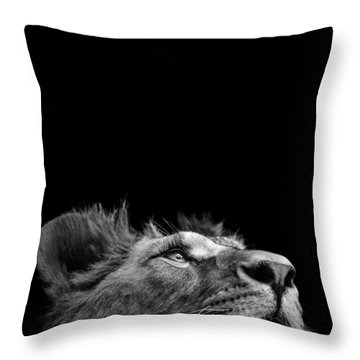 Portrait Of Lion In Black And White IIi Throw Pillow