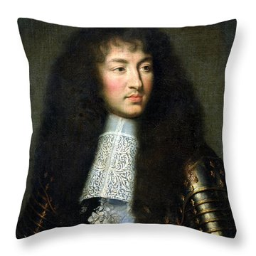 Portrait Of Louis Xiv Throw Pillow by Charles Le Brun