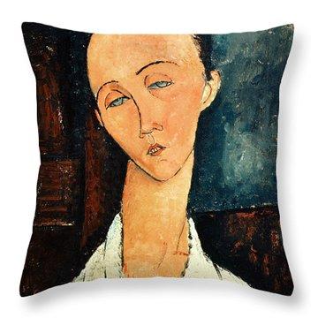 Portrait Of Lunia Czechowska Throw Pillow by Amedeo Modigliani