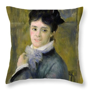 Portrait Of Madame Claude Monet Throw Pillow by Renoir