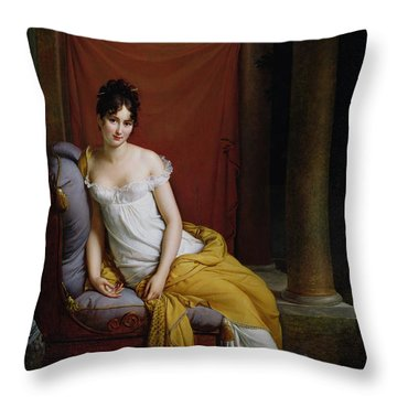 Portrait Of Madame Recamier Throw Pillow by Francois Pascal Simon Gerard