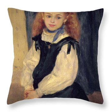 Portrait Of Mademoiselle Legrand Throw Pillow by Pierre Auguste Renoir