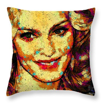 Throw Pillow featuring the digital art Portrait Of Madonna by Zedi