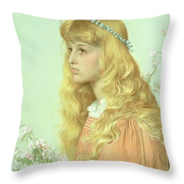 Portrait Of Miss Adele Donaldson, 1897 Throw Pillow by Anthony Frederick Augustus Sandys