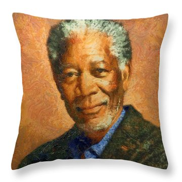 Portrait Of Morgan Freeman Throw Pillow