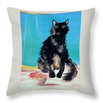 Throw Pillow featuring the painting Portrait Of Muffin by Denise Fulmer