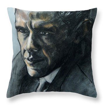 Charcoal Portrait Of President Obama Throw Pillow