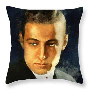 Portrait Of Rudolph Valentino Throw Pillow