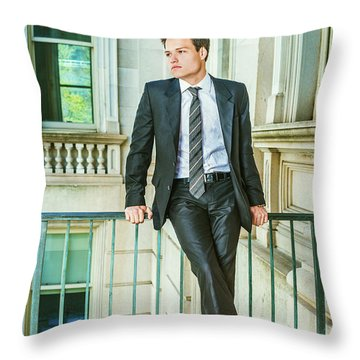 Throw Pillow featuring the photograph Portrait Of School Boy 1504259 by Alexander Image