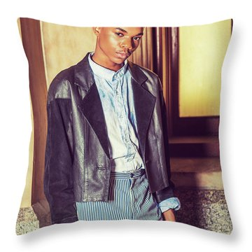 Throw Pillow featuring the photograph Portrait Of School Boy 15042627 by Alexander Image
