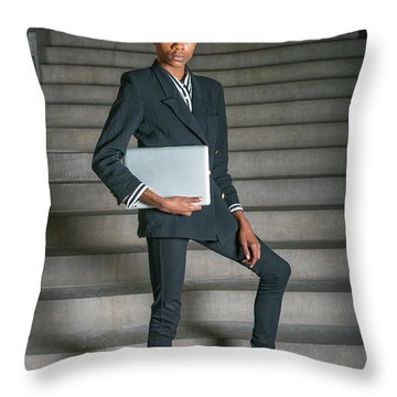 Throw Pillow featuring the photograph Portrait Of School Boy 1504264 by Alexander Image