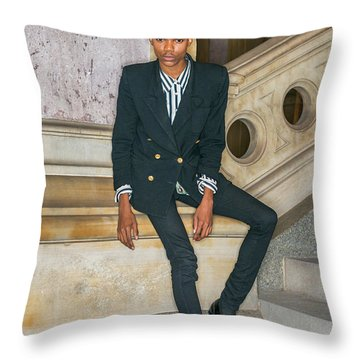 Throw Pillow featuring the photograph Portrait Of School Boy 1504265 by Alexander Image