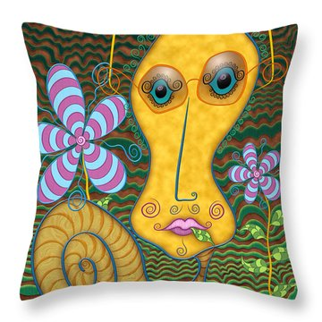 Portrait Of The Artist As A Young Snail Throw Pillow