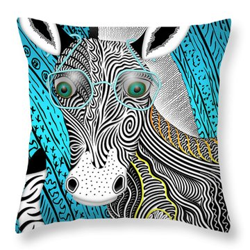 Portrait Of The Artist As A Young Zebra Throw Pillow