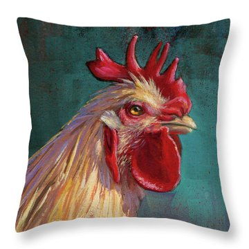 Portrait Of The Chicken As A Young Cockerel Throw Pillow