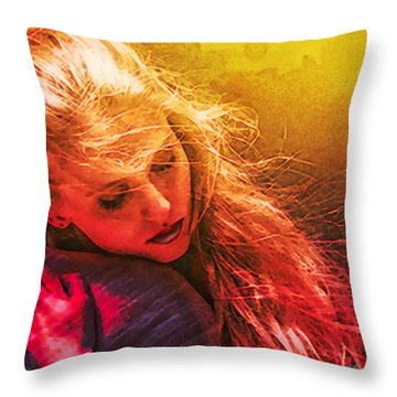 Portrait Of The Girl Who Dreams Of Her Poet Warrior Throw Pillow