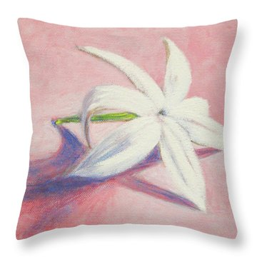 Portrait Of The Jasmine Flower Throw Pillow by Usha Shantharam