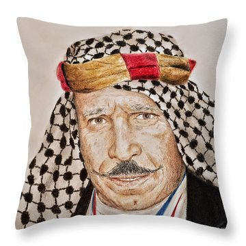Portrait Of The Pro Wrestler Known As The Iron Sheik Throw Pillow