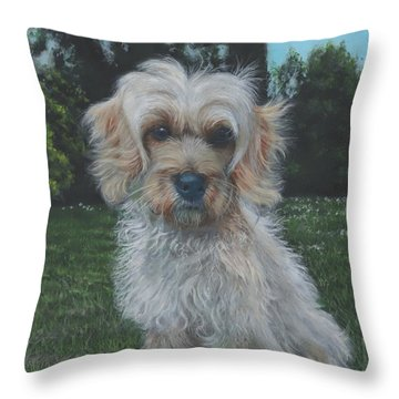 Throw Pillow featuring the painting Portrait Of Toffee by John Neeve