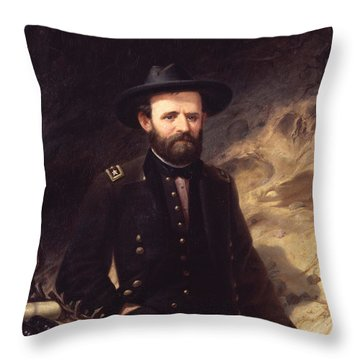 Portrait Of Ulysses S. Grant Throw Pillow by Ole Peter Hansen Balling