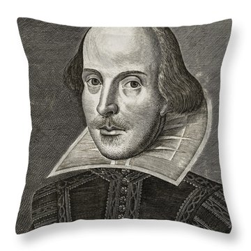 Portrait Of William Shakespeare Throw Pillow by Martin the elder Droeshout