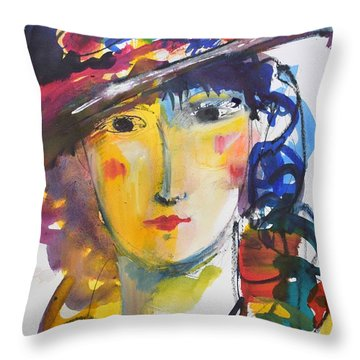 Portrait Of Woman With Flower Hat Throw Pillow