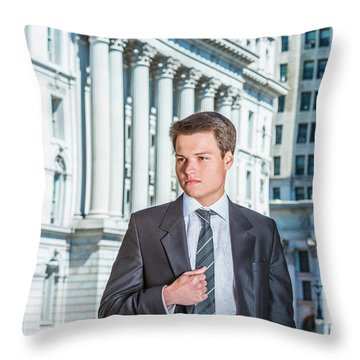 Throw Pillow featuring the photograph Portrait Of Young Businessman 15042511 by Alexander Image