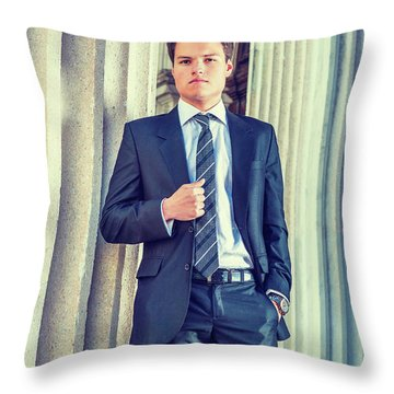 Throw Pillow featuring the photograph Portrait Of Young Businessman 15042512 by Alexander Image