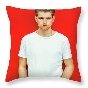 Portrait Of Young Handsome Man Throw Pillow