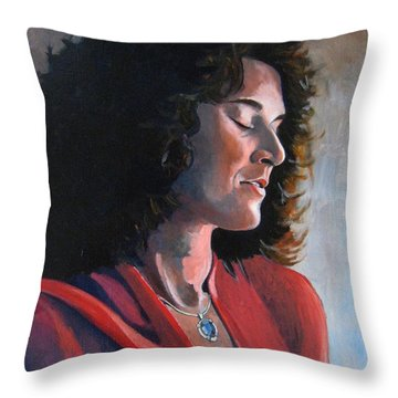 Portrait Of Young Isabelle Throw Pillow by Ray Agius