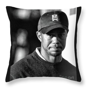 Portrait  Tiger Woods Black White  Throw Pillow